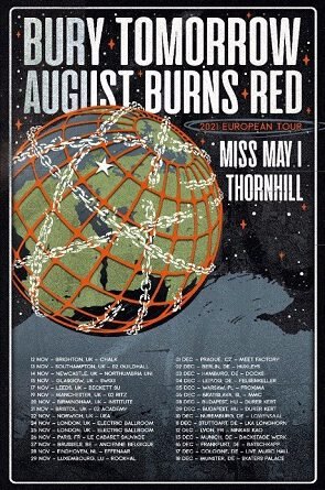 AUGUST BURNS RED – Announce Fall 2021 European Tour! Co-headline run with Bury Tomorrow also features Miss May I + Thornhill